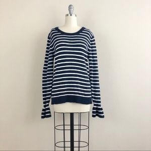 J. Crew Navy White Striped Sweater Size Small